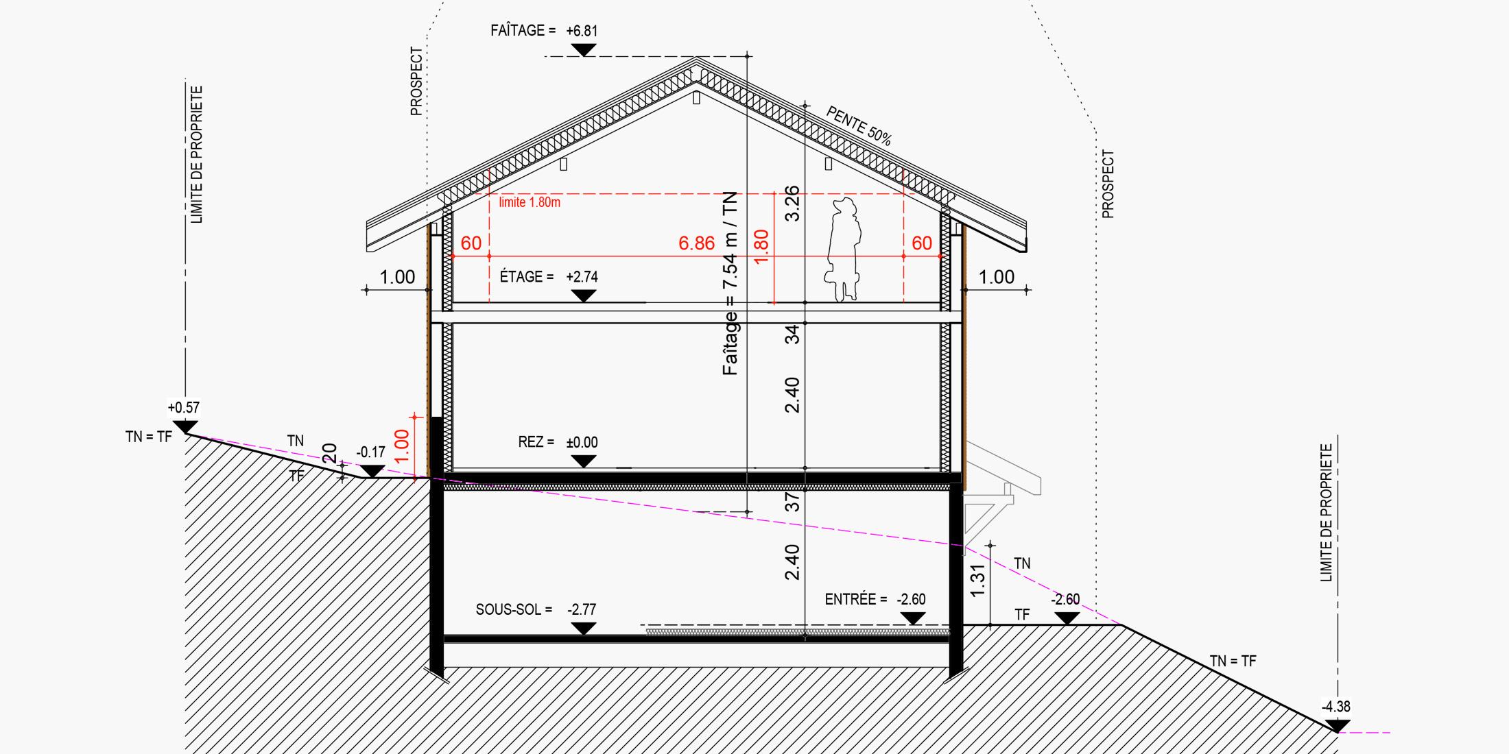 Plan pour permis de construire chalet, maison individuelle Annecy- Savoie Plan